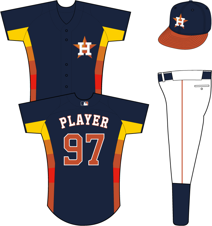 Houston Astros Uniform Alternate Uniform (2013-2014) - H-star logo on the left chest of a blue uniform with rainbow-coloured side panels, worn on Sunday home games in 2013 and half of 2014. Also doubled as the team batting practice jersey, not with this cap. SportsLogos.Net