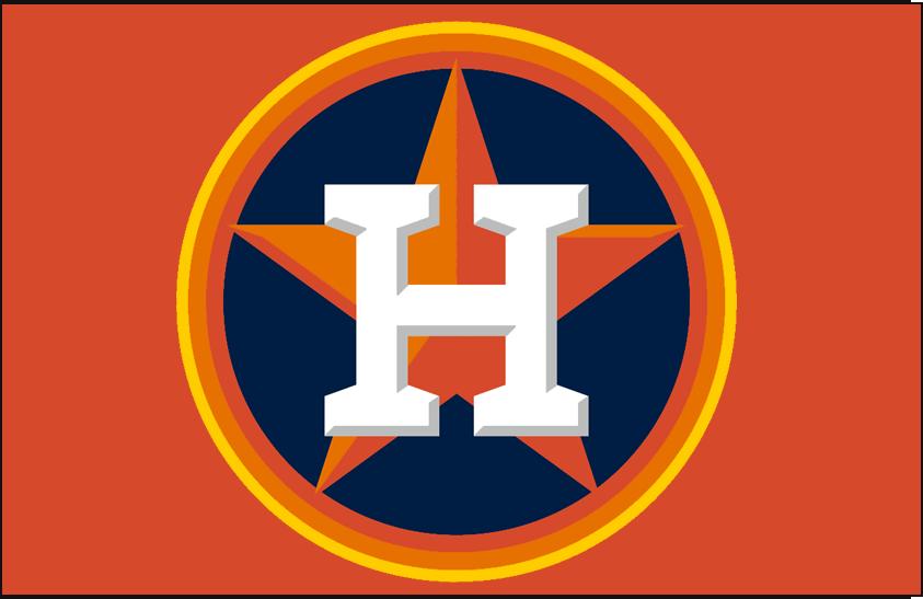 Houston Astros Logo Batting Practice Logo (2013-Pres) - White H on orange star on blue circle with rainbow-style trim on orange. Worn on Houston Astros BP caps from 2013 SportsLogos.Net