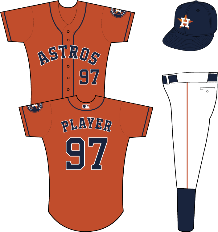 Houston Astros Uniform Alternate Uniform (2013-Pres) - Astros in blue with a white outline arced across the chest of an orange uniform with blue placket and sleeve piping, primary logo patch on left sleeve SportsLogos.Net