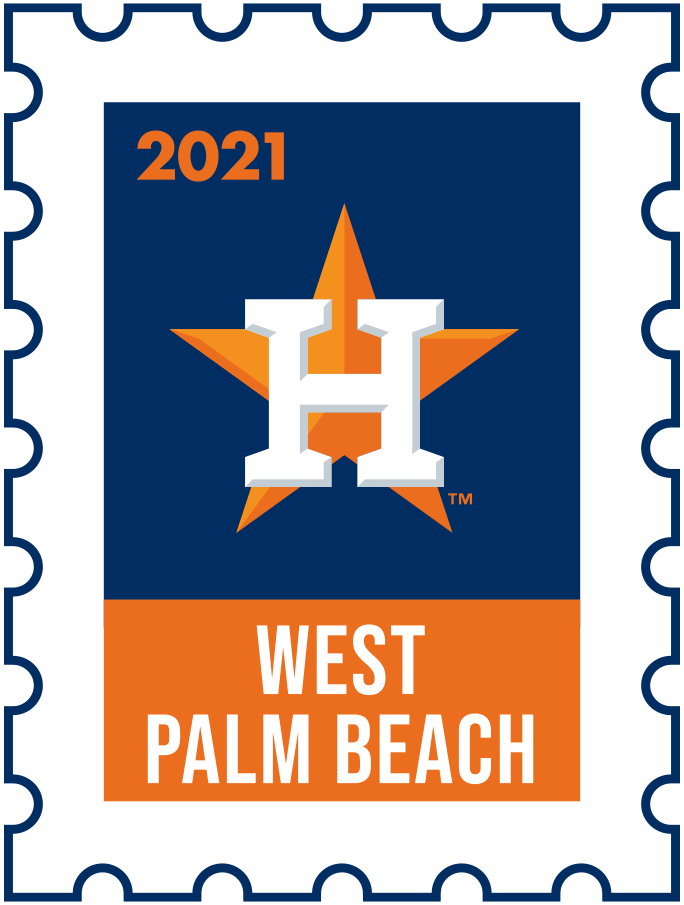 Houston Astros Logo Event Logo (2021) - The Houston Astros 2021 Spring Training logo, the design follows a league-wide style using a postage stamp in team colours with the team logo in the middle. SportsLogos.Net