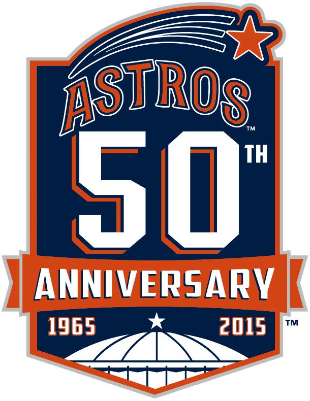 Houston Astros Logo Anniversary Logo (2015) - Houston Astros 50th anniversary logo, worn on Astros jersey sleeve during 2015 season SportsLogos.Net