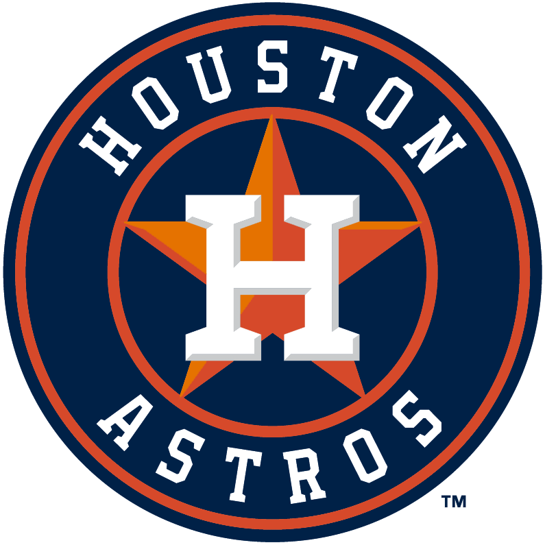 Houston Astros Logo Primary Logo (2013-Pres) - An orange star and white H with bevelling on a blue and orange circle with team name surrounding it.  Modernized version of various Houston Astros identities used between 1965 and 1993. SportsLogos.Net