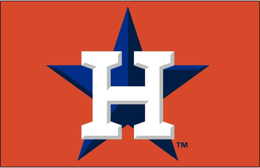 Houston Astros Logo Cap Logo (2014-Pres) - White H with grey bevelling on a navy blue and royal blue star on orange. Blue star was bevelled for the 2014 season SportsLogos.Net