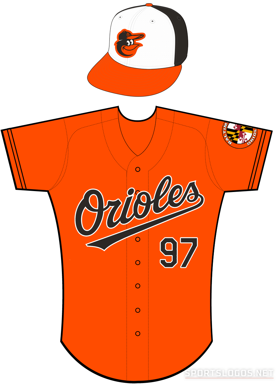 Baltimore Orioles Uniform Alternate Uniform (2012-Pres) - Orioles in black with a white outline on an orange uniform with black sleeve piping, Baltimore Orioles Mayland-style patch on left sleeve SportsLogos.Net