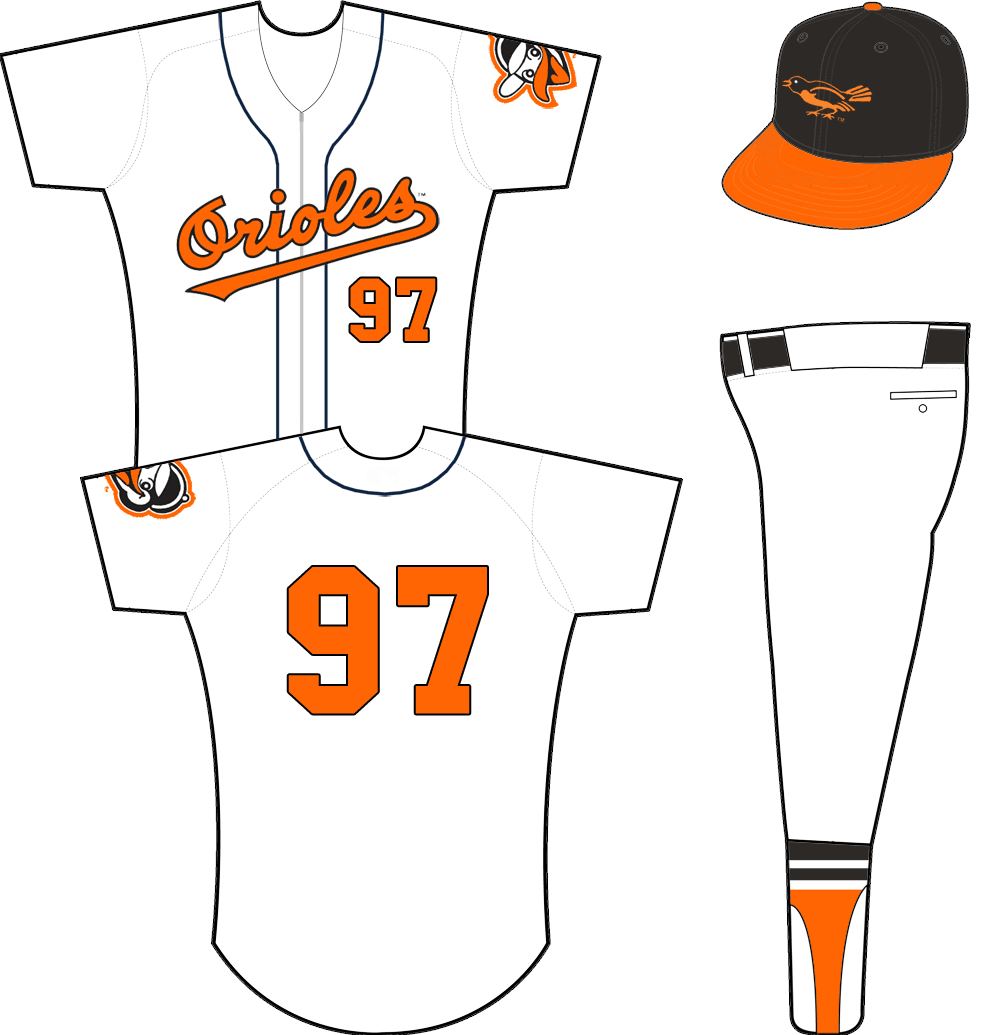 Baltimore Orioles Uniform Home Uniform (1958-1962) - Orioles scripted across a zipper-up white jersey with black piping. Orange/black number on front and back, no player name. Alternate Oriole head logo on sleeve. Cap is black with orange bill. SportsLogos.Net