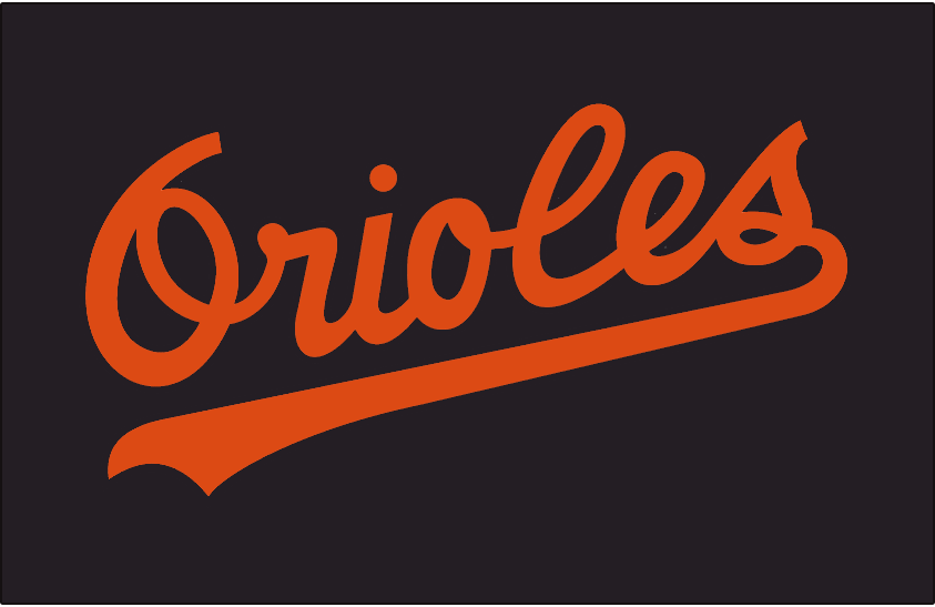 Baltimore Orioles Logo Batting Practice Logo (1985-1988) - Orioles in orange on a black jersey. Worn on the front of the Baltimore Orioles black batting practice jerseys from 1985-1988 SportsLogos.Net