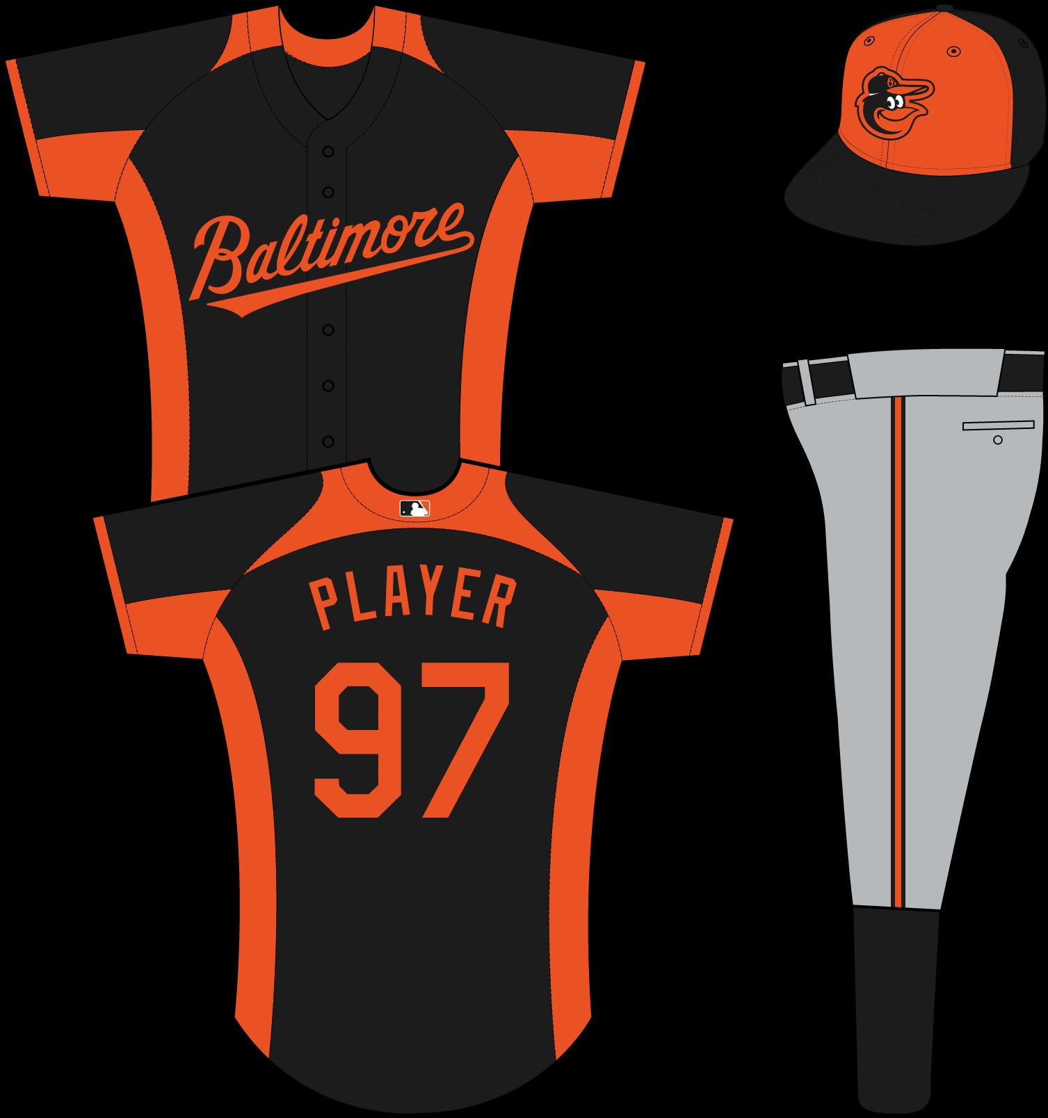 Baltimore Orioles Uniform Practice Uniform (2013-Pres) - (Road BP) Baltimore in orange on a black uniform with orange collar, sleeve end, underarm, and side panels SportsLogos.Net