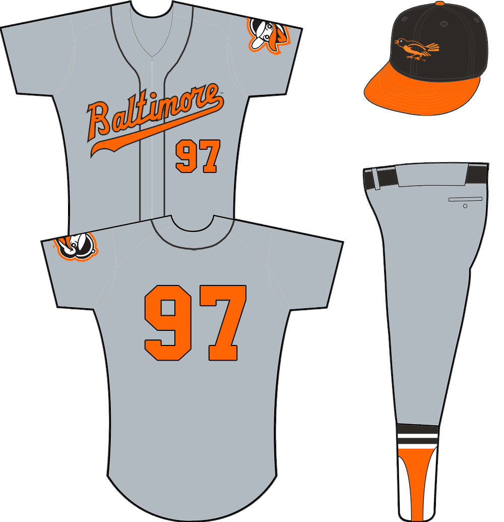 Baltimore Orioles Uniform Road Uniform (1958-1962) - Baltimore scripted across a zipper-up grey jersey with black piping. Orange/black number on front and back, no player name. Alternate Oriole head logo on sleeve. Cap is black with orange bill. SportsLogos.Net