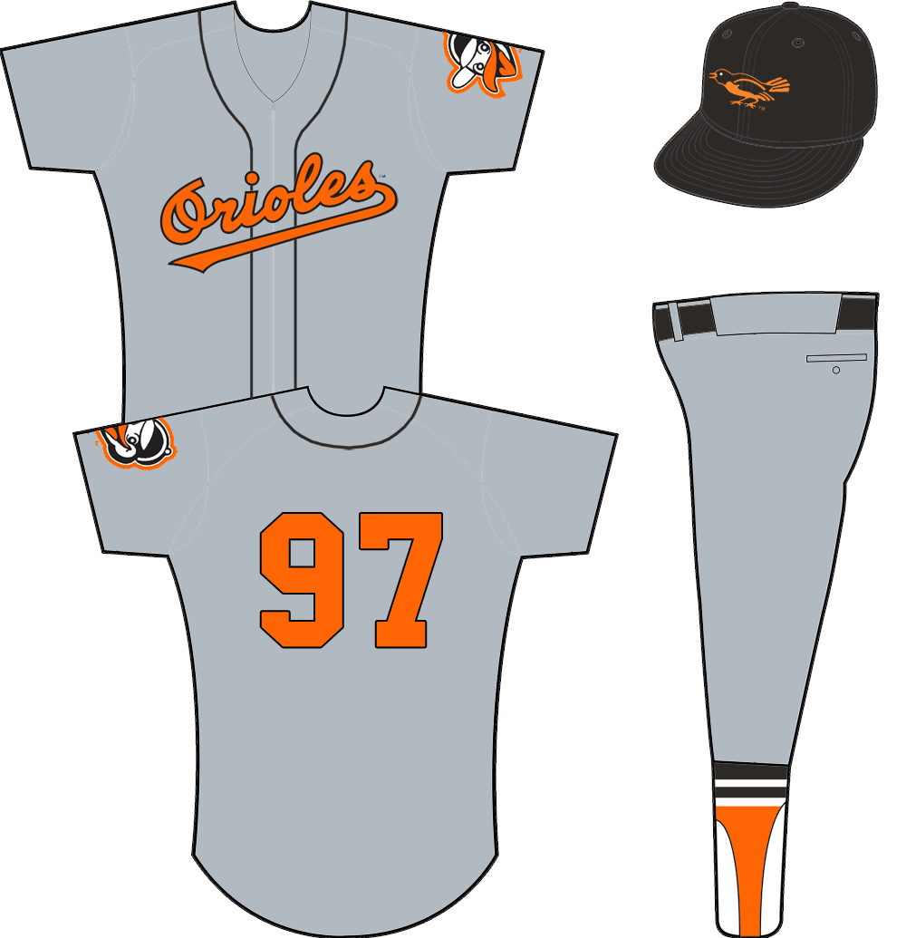 Baltimore Orioles Uniform Road Uniform (1955) - Orioles scripted across a zipper-up grey jersey with black piping. Orange/black number on back, no player name. Alternate Oriole head logo on sleeve. Cap is black with black bill. SportsLogos.Net