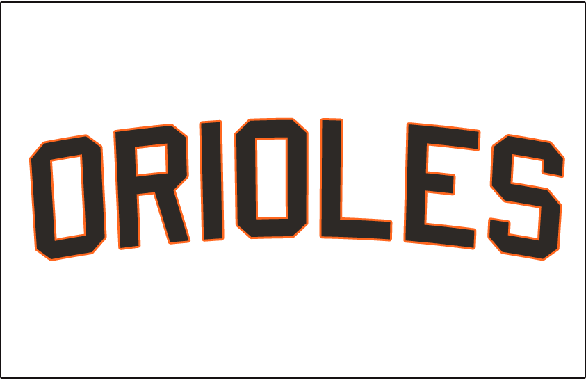 Baltimore Orioles Logo Jersey Logo (1963-1965) - Orioles arched in black and orange block letters, worn on the front of the Baltimore Orioles home white jerseys from 1963 to 1965 SportsLogos.Net