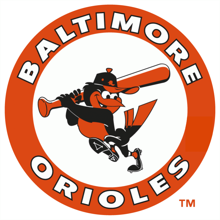 Baltimore Orioles Logo Primary Logo (1966-1988) - Oriole swinging bat in an orange circle SportsLogos.Net