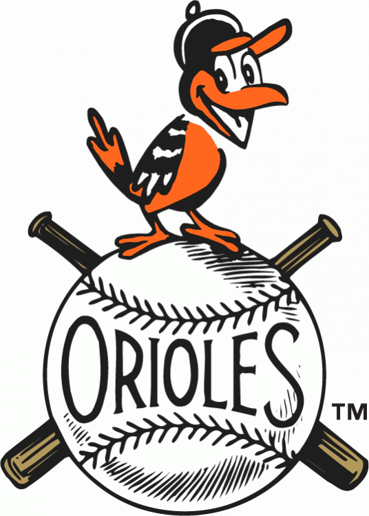 Baltimore Orioles Logo Primary Logo (1954-1965) - A smiling oriole perched on a baseball SportsLogos.Net