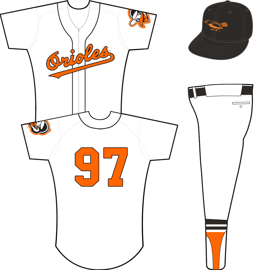Baltimore Orioles Uniform Home Uniform (1955-1957) - Orioles scripted across a zipper-up white jersey with black piping. Orange/black number on back, no player name. Alternate Oriole head logo on sleeve. Cap is black with black bill. SportsLogos.Net