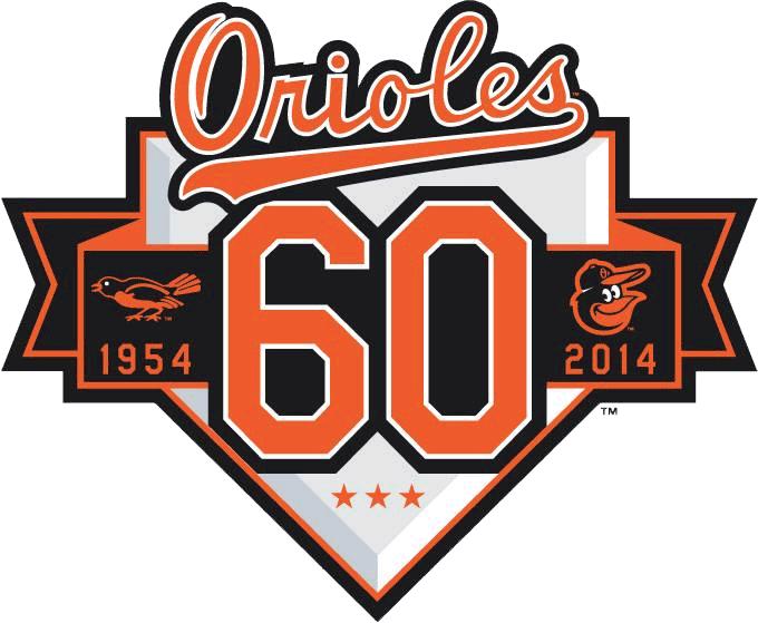 Baltimore Orioles Logo Anniversary Logo (2014) - Baltimore Orioles 60th Anniversary Logo. Worn on the right sleeve of Orioles home, road, and alternate jerseys throughout the 2014 season.  SportsLogos.Net