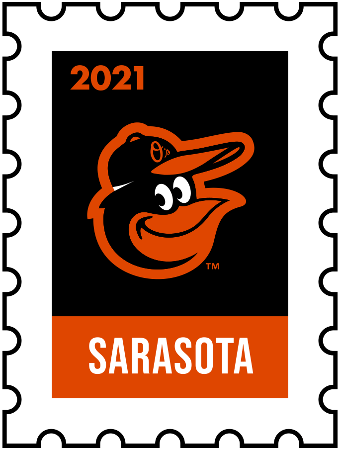 Baltimore Orioles Logo Event Logo (2021) - The Baltimore Orioles 2021 Spring Training logo, the design follows a league-wide style using a postage stamp in team colours with the team logo in the middle. SportsLogos.Net