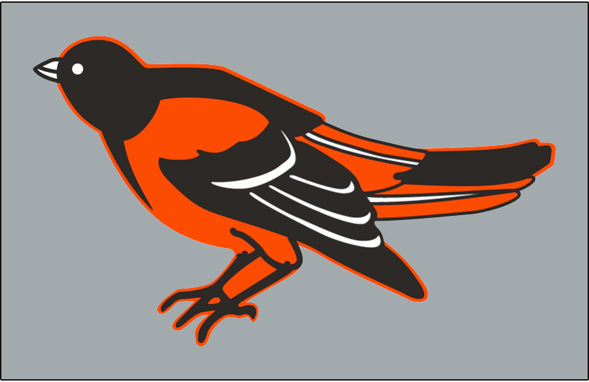 Baltimore Orioles Logo Cap Logo (1995-1996) - A black and orange oriole bird on a grey crown. The Baltimore Orioles wore grey alternate caps with their road grey uniforms sparingly during the 1995 and 1996 seasons. SportsLogos.Net