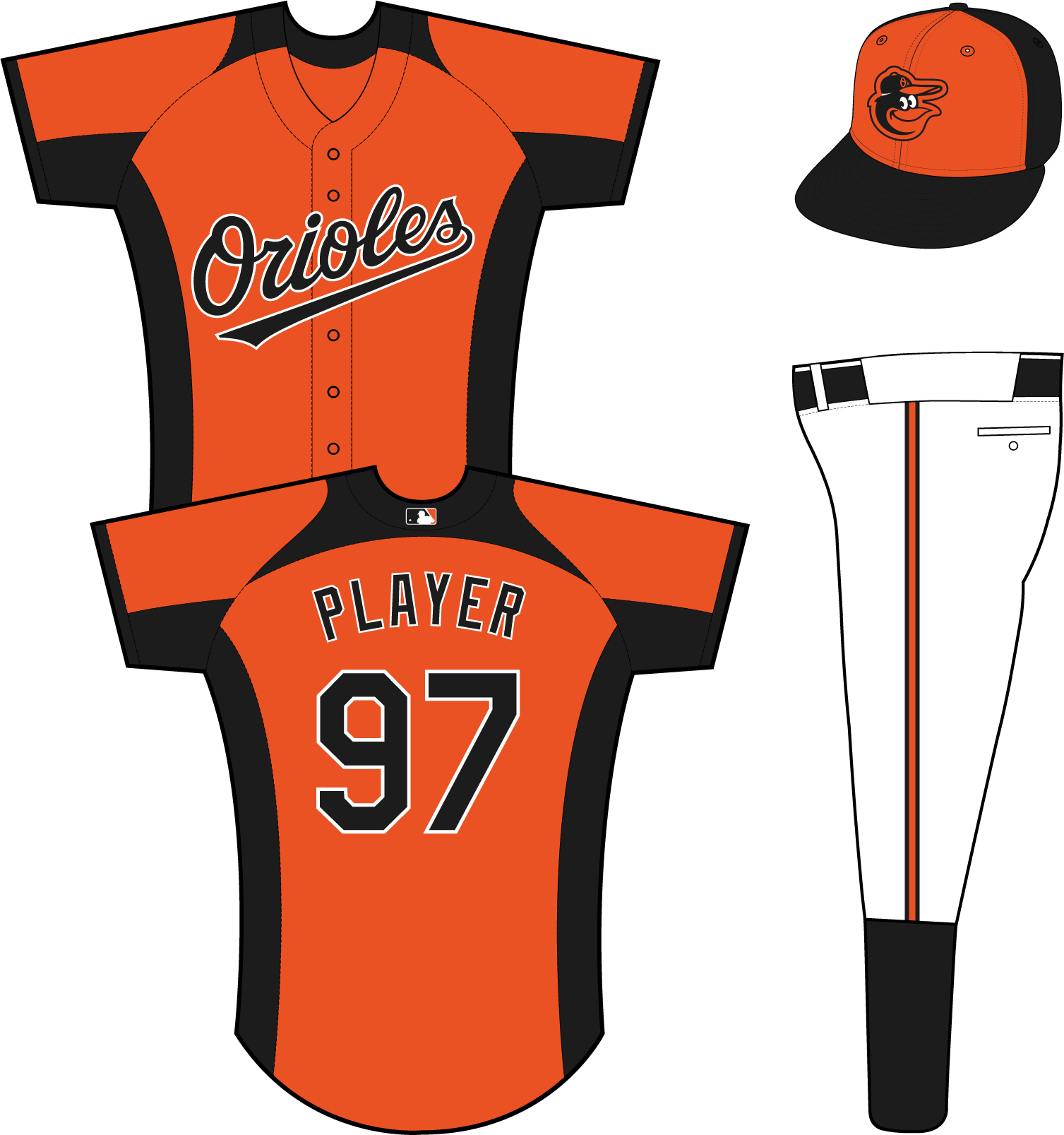 Baltimore Orioles Uniform Practice Uniform (2013-Pres) - (Home BP) Orioles in black with a white outline on an orange uniform with black collar, sleeve end, underarm, and side panels SportsLogos.Net