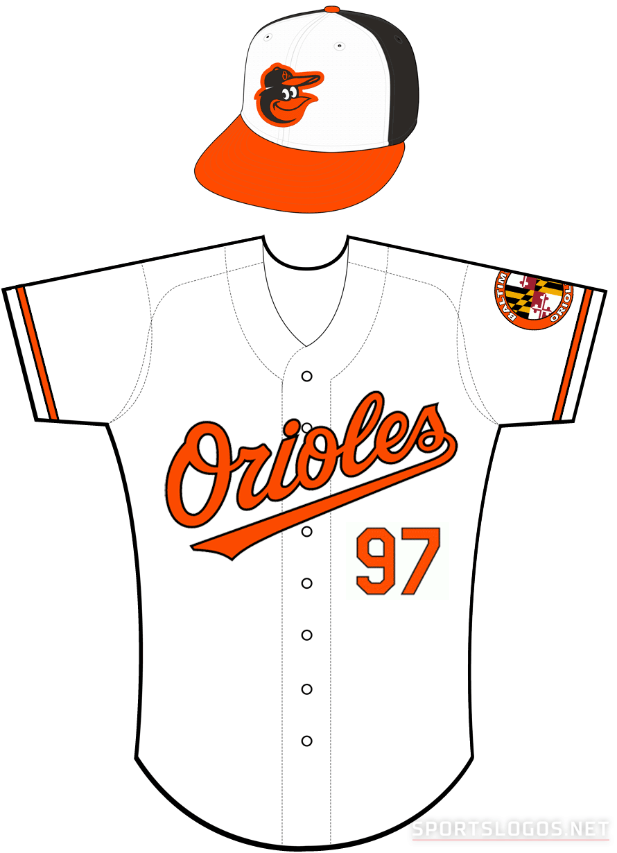 Baltimore Orioles Uniform Home Uniform (2012-Pres) - Orioles in orange with a black outline on a white uniform with orange and black sleeve trim, Baltimore Orioles Maryland flag inspired patch on left sleeve SportsLogos.Net