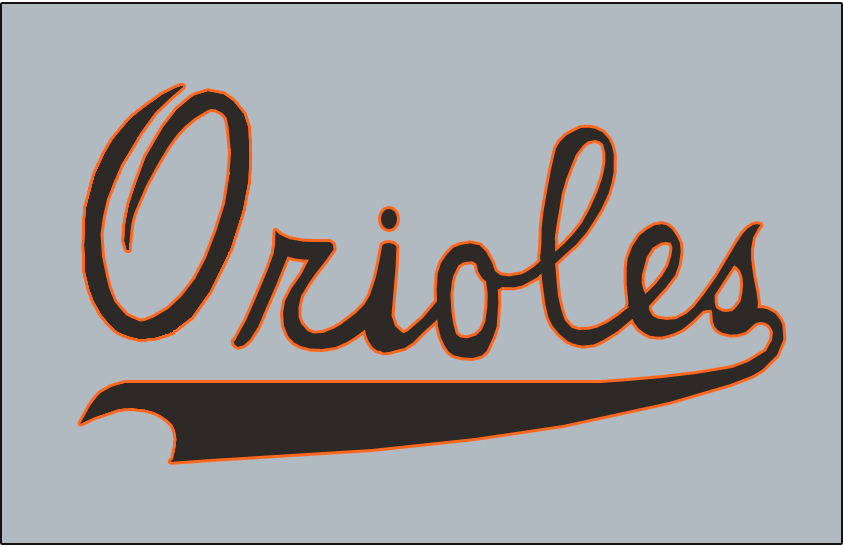 Baltimore Orioles Logo Jersey Logo (1954) - Orioles in black with orange trim on a grey jersey. Worn on the front of the Baltimore Orioles road grey jerseys for their inaugural 1954 season. SportsLogos.Net