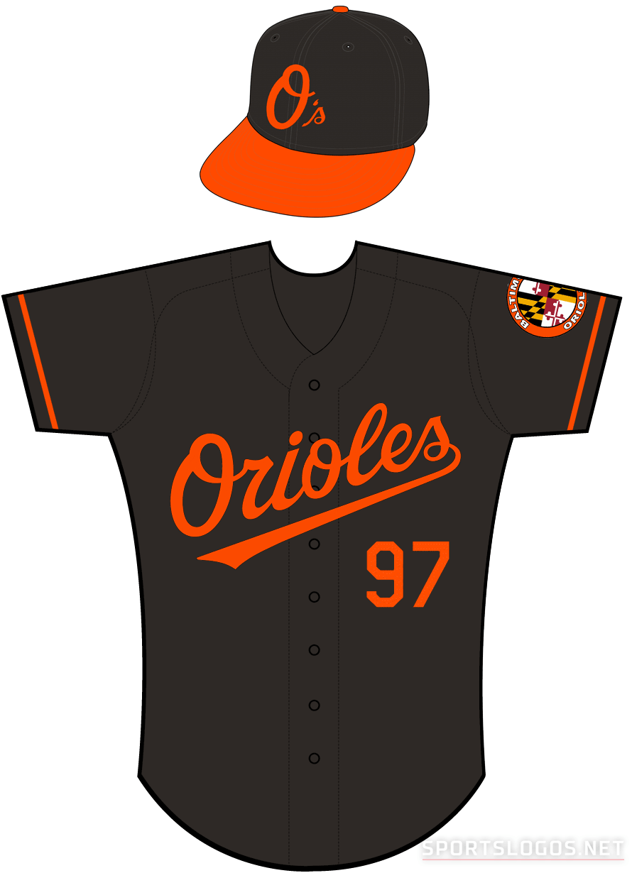 Baltimore Orioles Uniform Alternate Uniform (2012-Pres) - Orioles in orange on a black uniform with orange sleeve piping, Baltimore Orioles Maryland style patch on left sleeve SportsLogos.Net