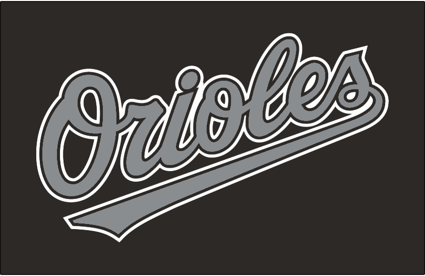 Baltimore Orioles Logo Special Event Logo (1999) - Orioles in silver with black and white outlines on black, worn for Turn Ahead The Clock game on July 25, 1999 SportsLogos.Net