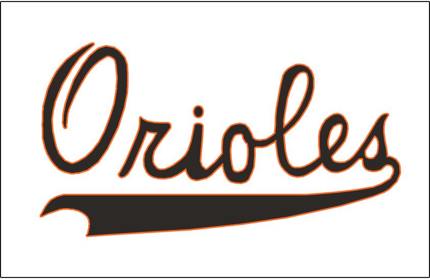 Baltimore Orioles Logo Jersey Logo (1954) - Orioles in black with orange trim on a white jersey. Worn on the front of the Baltimore Orioles home white jerseys for their inaugural 1954 season. SportsLogos.Net