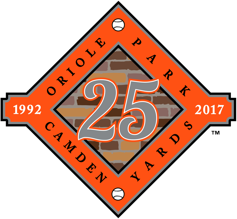 Baltimore Orioles Logo Stadium Logo (2017) - Oriole Park at Camden Yards 25th Anniversary Patch worn on Jersey SportsLogos.Net