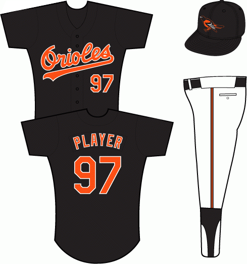 Baltimore Orioles Uniform Alternate Uniform (1993-1994) - Orioles in orange with a white outline on a black uniform, 1993 All-Star Game patch on left sleeve SportsLogos.Net