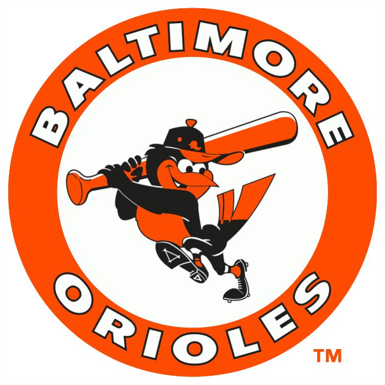 Baltimore Orioles Logo Primary Logo (1989-1991) - Oriole swinging bat in an orange circle SportsLogos.Net