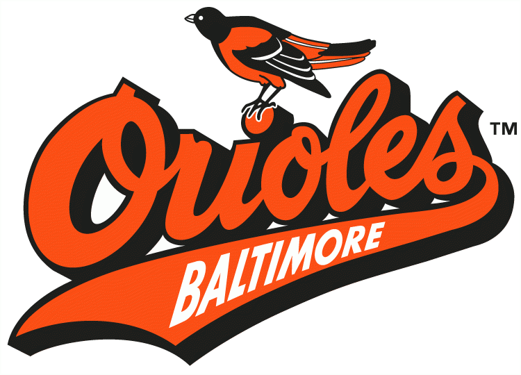 Baltimore Orioles Logo Primary Logo (1992-1994) - Oriole on top of Orioles script with Baltimore inside script tail SportsLogos.Net