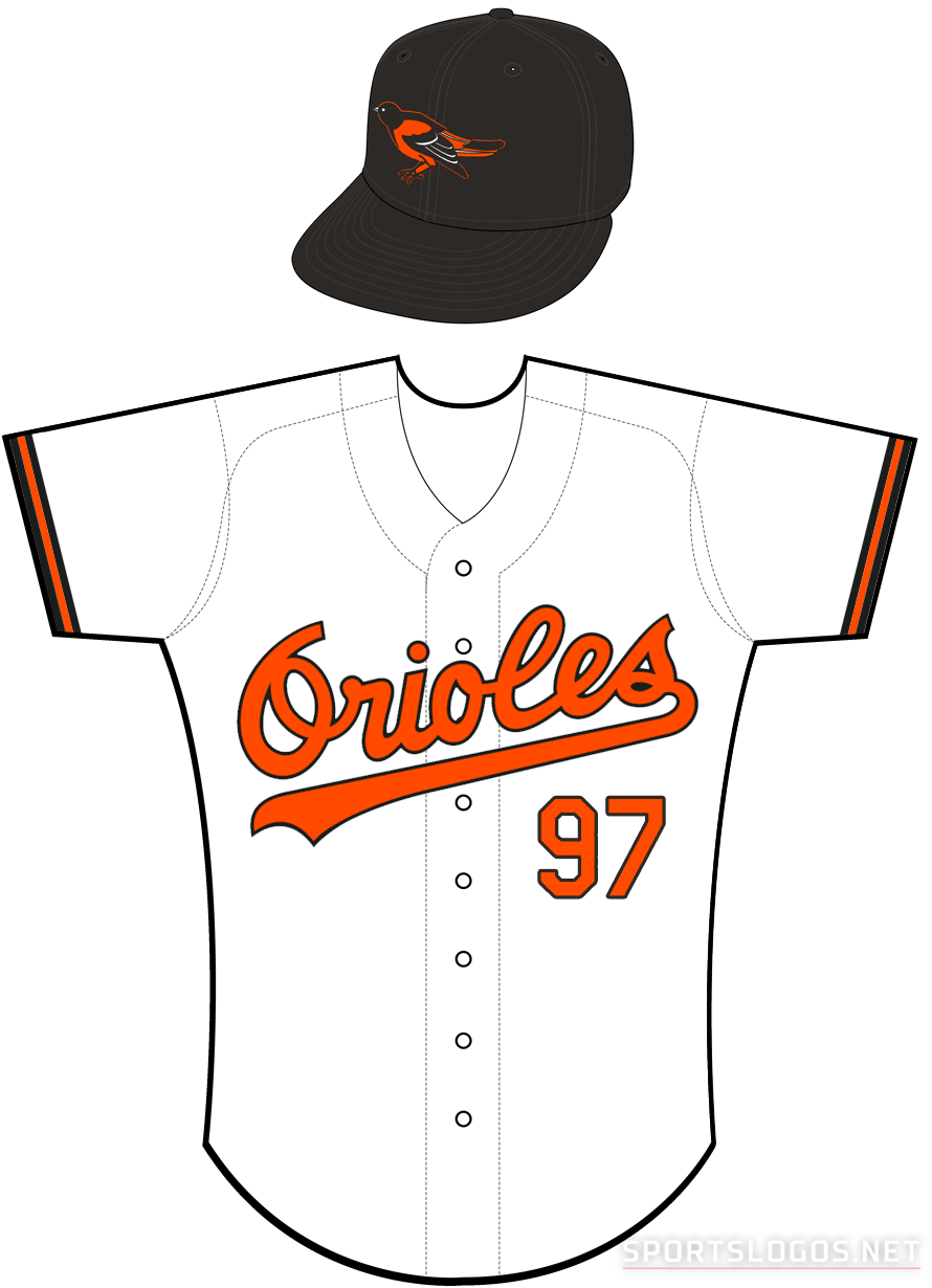 Baltimore Orioles Uniform Home Uniform (1989-1994) - Orioles in orange with a black outline on a white uniform with orange and black sleeve trim SportsLogos.Net