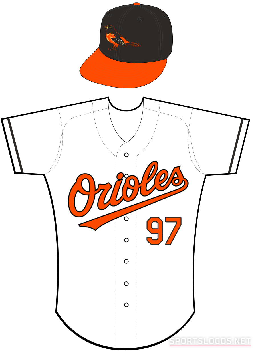 Baltimore Orioles Uniform Home Uniform (2004-2008) - Orioles in orange with a black outline on a white uniform with black sleeve piping SportsLogos.Net