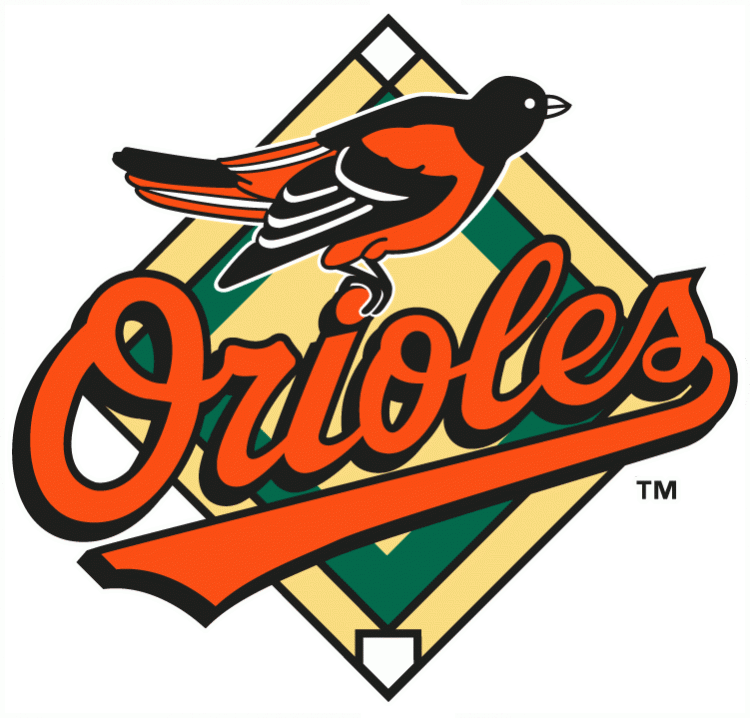 Baltimore Orioles Logo Primary Logo (1995-1997) - An Oriole standing on Orioles scripted in black and orange with a baseball diamond behind SportsLogos.Net