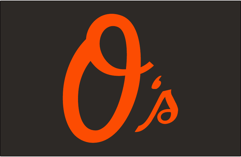 Baltimore Orioles Logo Cap Logo (2005-Pres) - O's in orange script on a black cap. Worn on Baltimore Orioles alternate cap since the 2005 season, also worn on their BP cap from 2005 to 2006, and again from 2010-2012 SportsLogos.Net