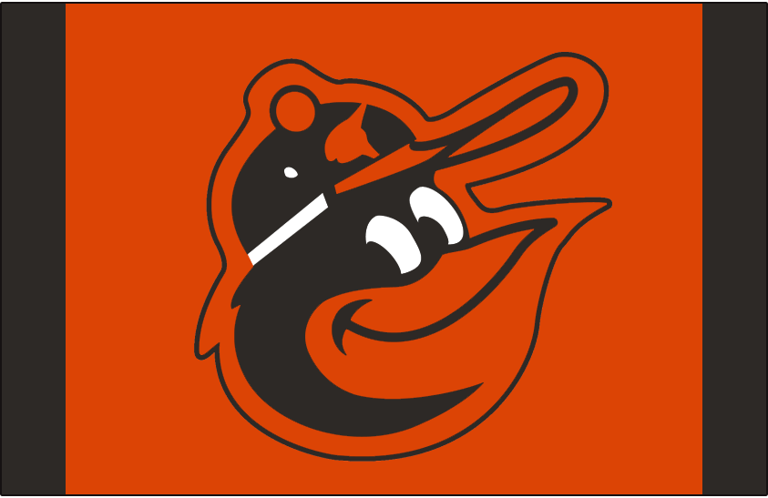 Baltimore Orioles Logo Cap Logo (1975-1976) - A smiling cartoon oriole bird wearing a cap on an orange and black cap. This was worn on the Baltimore Orioles orange alternate caps during the 1975 and 1976 seasons. SportsLogos.Net