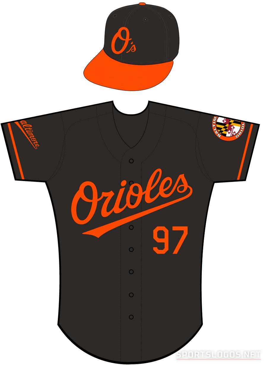 Baltimore Orioles Uniform Alternate Uniform (2009-2011) - Orioles in orange on a black uniform with orange sleeve piping, Orioles Baseball patch on left sleeve, Baltimore script patch on right sleeve SportsLogos.Net