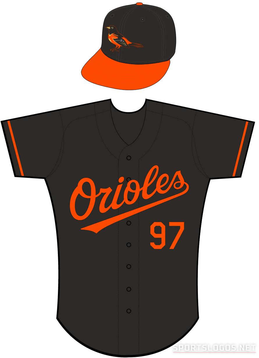 Baltimore Orioles Uniform Alternate Uniform (2004) - Orioles in orange on a black uniform with orange sleeve piping, Orioles' 50th Anniversary patch on sleeve SportsLogos.Net