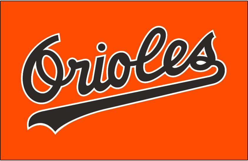 Baltimore Orioles Logo Jersey Logo (1989-1992) - Orioles in black with white trim on orange jersey. Worn on Baltimore Orioles alternate and batting practice jerseys from 1989 through 1992 SportsLogos.Net