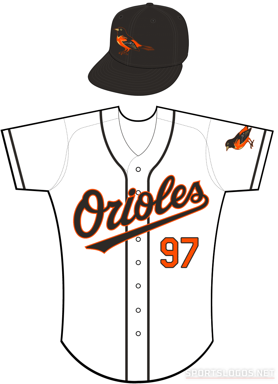Baltimore Orioles Uniform Home Uniform (1999-2001) - Orioles in black with an orange outline on a white uniform with black piping, bird patch on sleeve. Note, during the 1999 season this jersey did not have the MLB patch on the back collar SportsLogos.Net