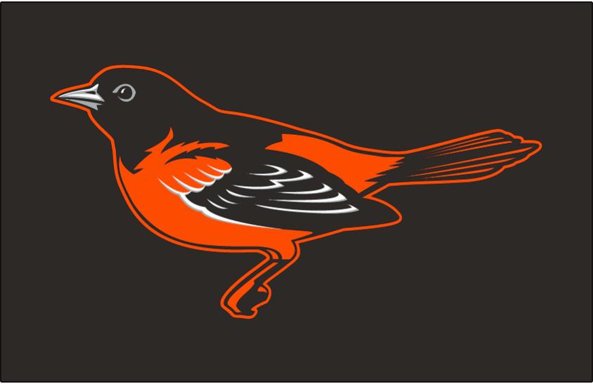 Baltimore Orioles Logo Cap Logo (2009-2011) - A black, orange, and silver life-like oriole bird on black. Worn on Baltimore Orioles home and road caps from 2009 through 2011 SportsLogos.Net