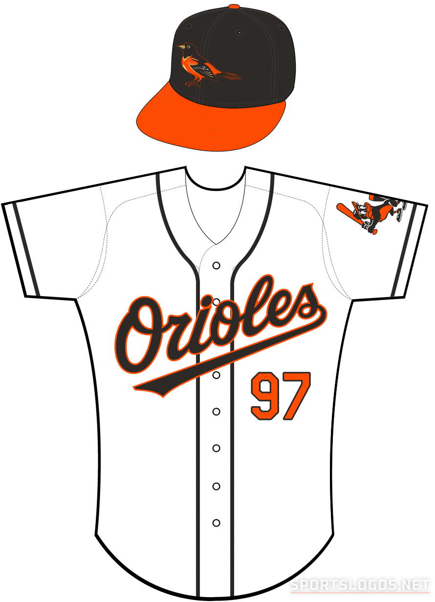 Baltimore Orioles Uniform Home Uniform (2002-2003) - Orioles in black with an orange outline on a white uniform with black piping, baby bird patch on sleeve SportsLogos.Net