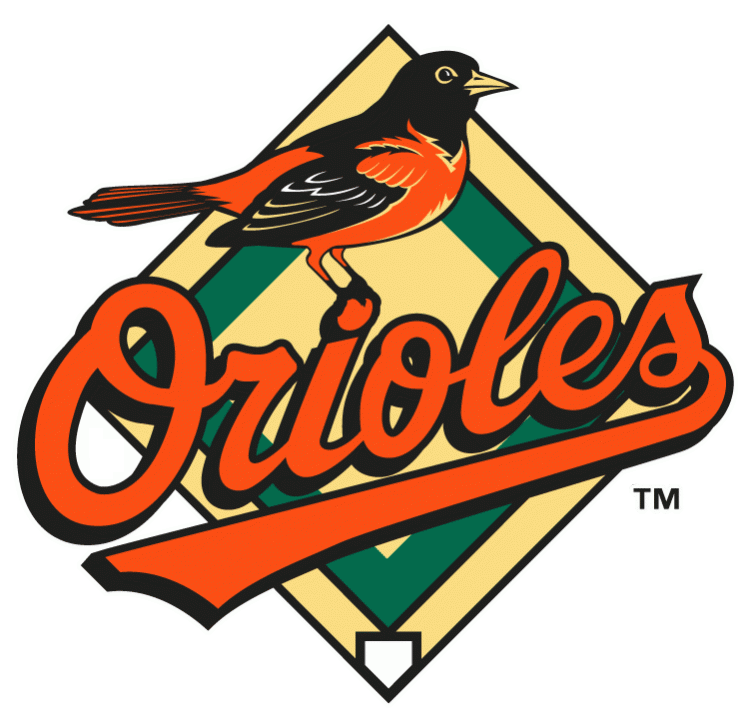 Baltimore Orioles Logo Primary Logo (1999-2008) - An Oriole standing on Orioles scripted in black and orange with a baseball diamond behind SportsLogos.Net