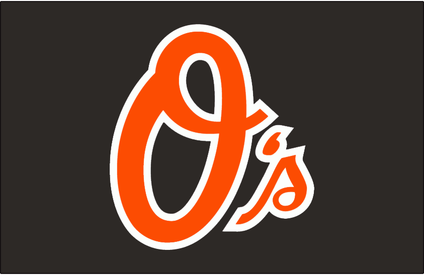 Baltimore Orioles Logo Batting Practice Logo (2009) - O's in orange with a thick white outline on black, worn on the Baltimore Orioles BP cap during the 2009 season only SportsLogos.Net