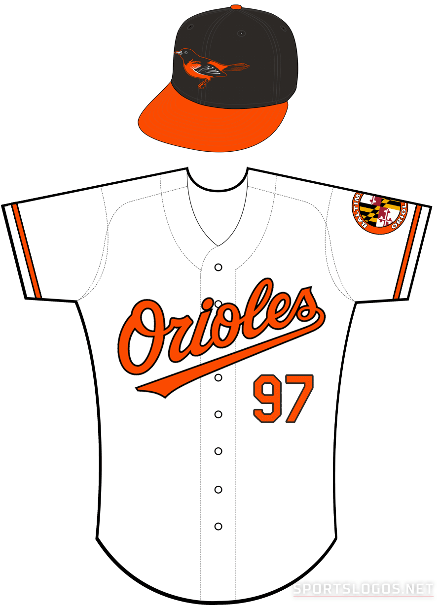 Baltimore Orioles Uniform Home Uniform (2009-2011) - Orioles in orange with a black outline on a white uniform with orange and black sleeve trim, Baltimore Orioles patch on left sleeve SportsLogos.Net