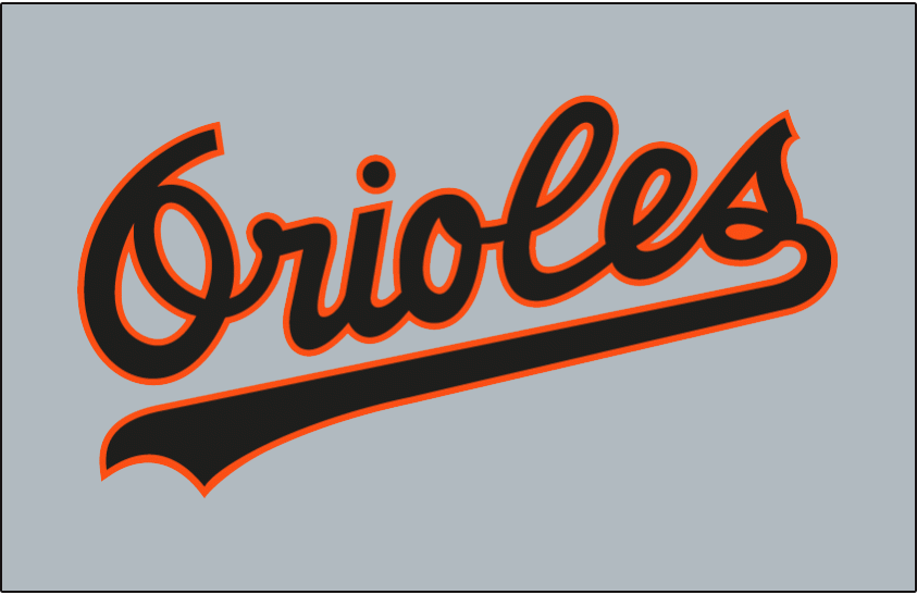 Baltimore Orioles Logo Jersey Logo (1989-1994) - Orioles in black with an orange outline on grey. Worn on Baltimore Orioles road jersey from 1989 to 1994 SportsLogos.Net