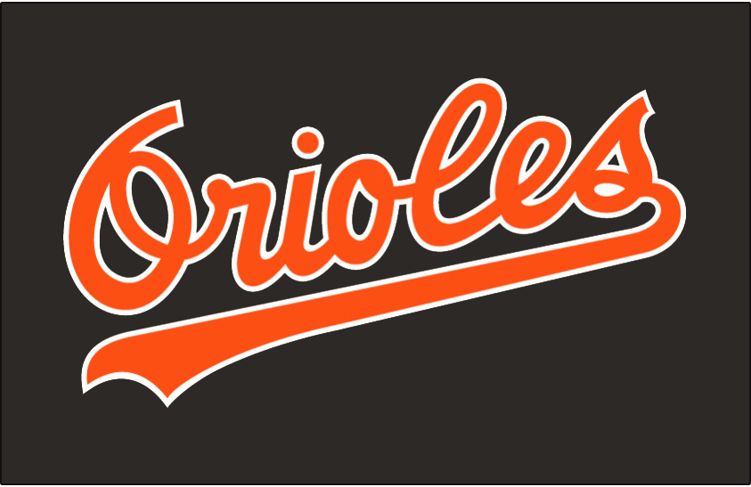 Baltimore Orioles Logo Jersey Logo (1989-1994) - Orioles in orange with white outline on black jersey. Worn on Baltimore Orioles BP jersey from 1989-1992 and their alternate jersey from 1993-1994 SportsLogos.Net