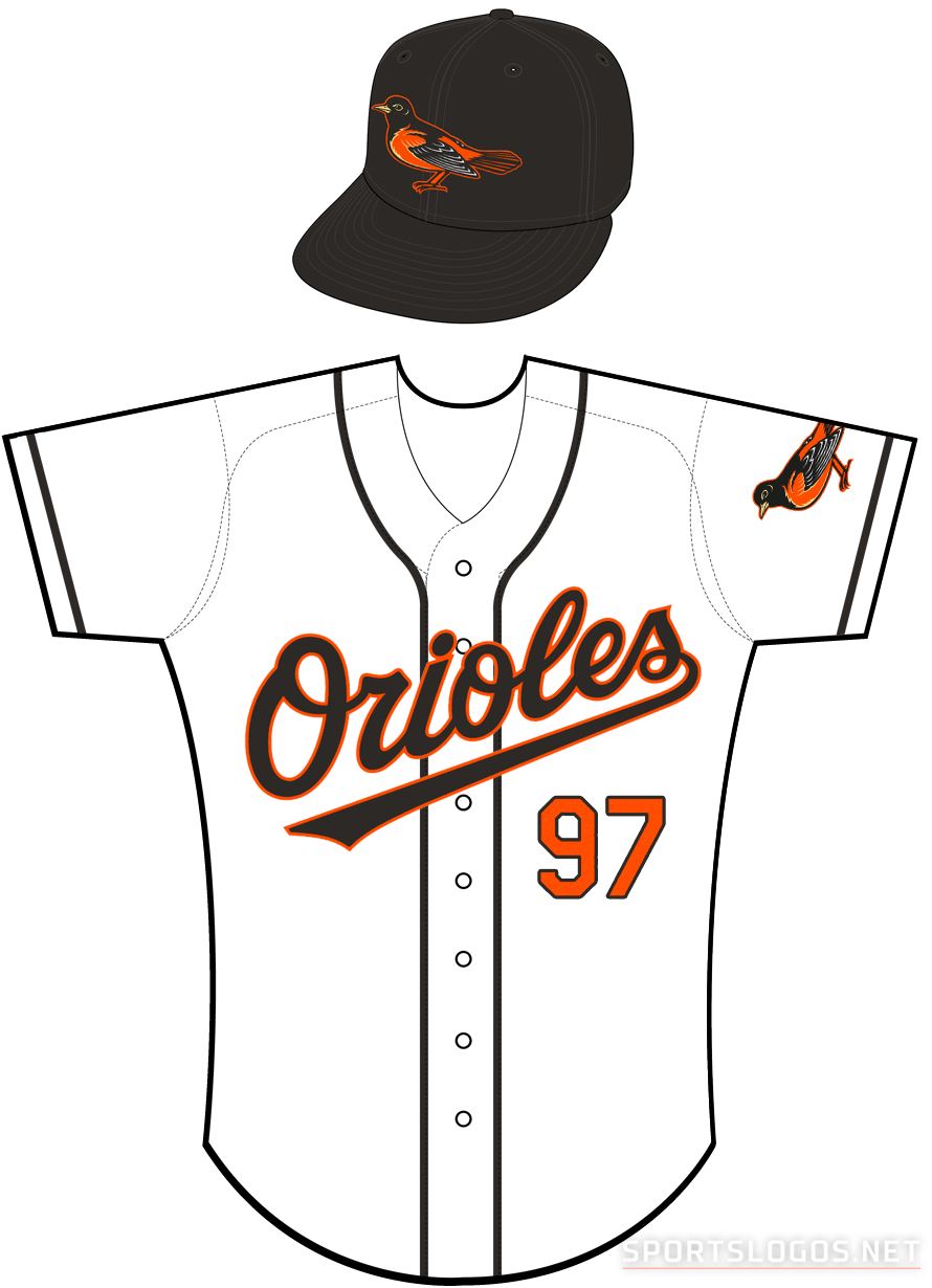 Baltimore Orioles Uniform Home Uniform (1998) - Orioles in black with an orange outline on a white uniform with black piping, bird patch on left sleeve SportsLogos.Net