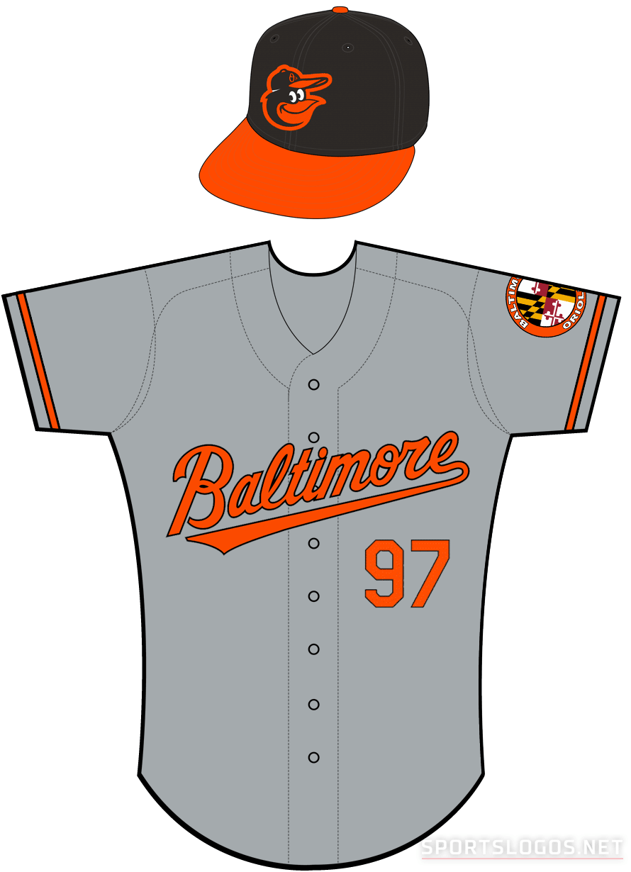 Baltimore Orioles Uniform Road Uniform (2012-Pres) - Baltimore in orange with a black outline on a grey uniform with orange and black sleeve trim, Baltimore Orioles State of Maryland inspired patch on left sleeve. SportsLogos.Net