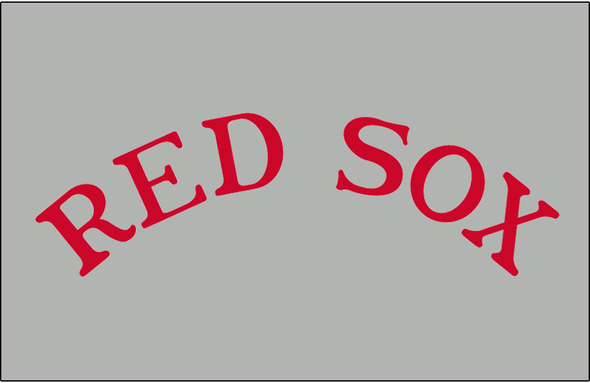 Boston Red Sox Logo Jersey Logo (1932) - RED SOX in red arched on grey, worn on the Boston Red Sox road uniforms during the 1932 season only SportsLogos.Net