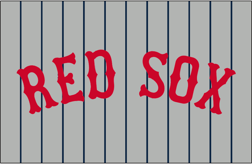 Boston Red Sox Logo Jersey Logo (1930) - RED SOX in red on grey with blue pinstripes, worn on the Boston Red Sox road uniforms during the 1930 season only SportsLogos.Net